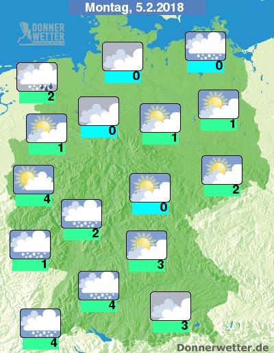 Astrowetter für Montag, den 05.02.2018 - Donnerwetter.de